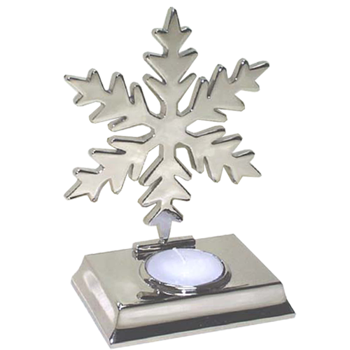 Glitter Snowflake Shaped Tealight Holder in Silver