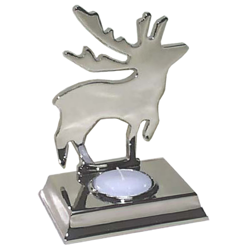 Christmas Dancing Moose Tealight Holder in Silver