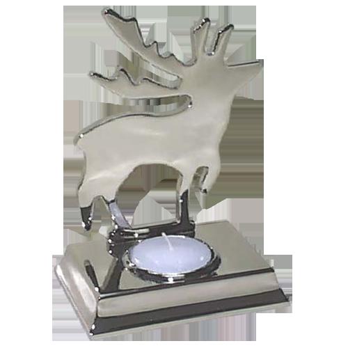 Christmas Dancing Moose Tealight Holder in Silver