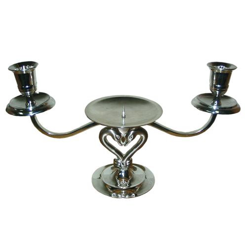 3 Arms Candle Holder with Swan Shaped Bottom