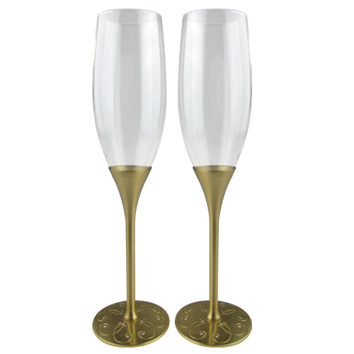 Luxury Gold Plated Champagne Glass with Crystal Decorate