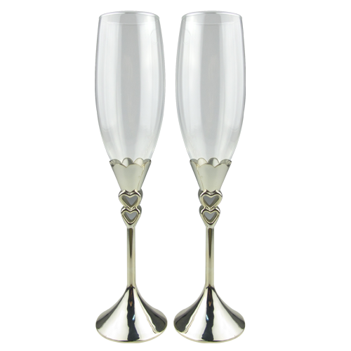 Tulip Champagne Glasses with Double Heart