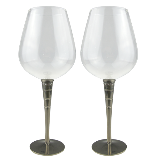 Long Stem Red Wine Glass Set of 2 with Crystal Decorate