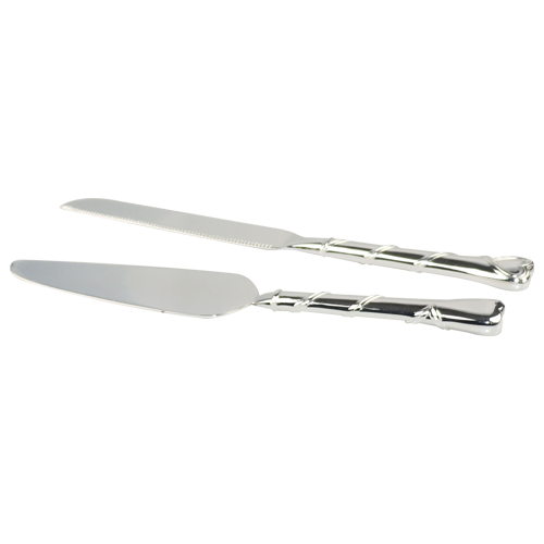 Personalized Wedding Accessories Simple Silver Plate Knife and Server