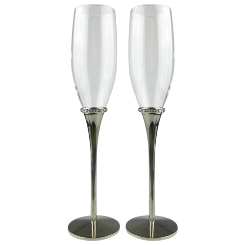 Bride and Groom Champagne Flute with Artificial Diamond