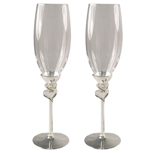 Hearts Modern Design Champagne Flutes for Wedding